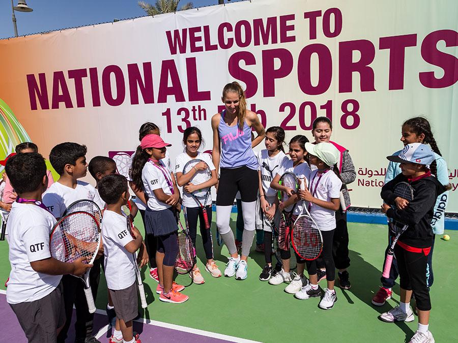 Plíšková, Makarova celebrate National Sport Day with the kids