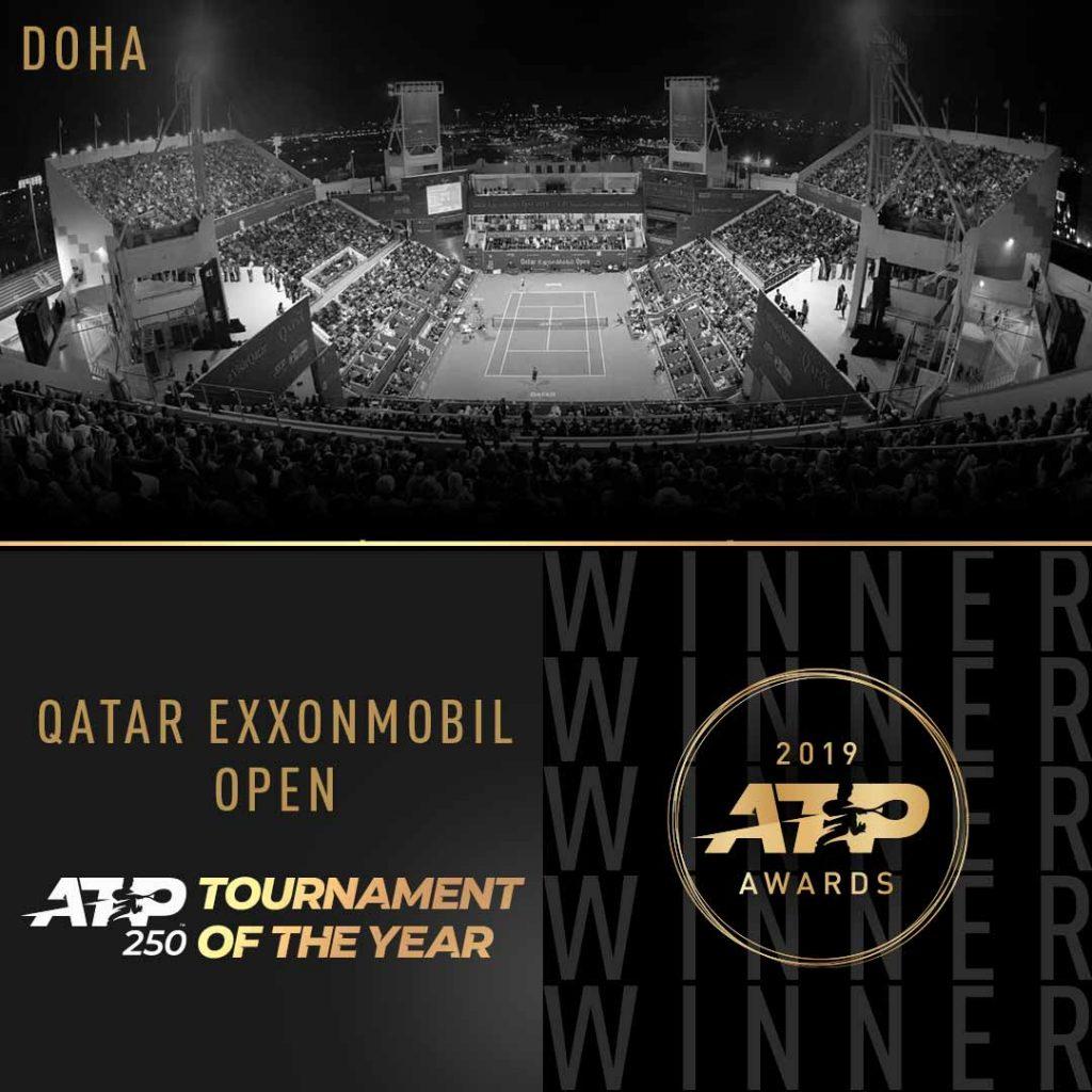 للمرة الثالثة في تاريخها بطولة قطر/ إكسون موبيل/ للتنس للرجال تفوز بجائزة أفضل بطولة لفئة 250 نقطة للعام 2019